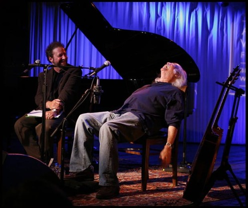 "Ztollo with David Crosby, onstage in Aspen for the Aspen Writers Foundation ""Lyrically Speaking."""