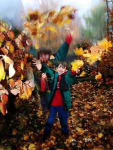 In the autumn leaves of Illinois, my son, Joshua Zollo.